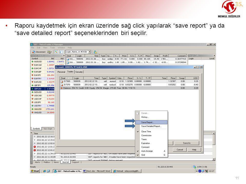 Raporu kaydetmek için ekran üzerinde sağ click yapılarak save report ya da save detailed report seçeneklerinden biri seçilir.