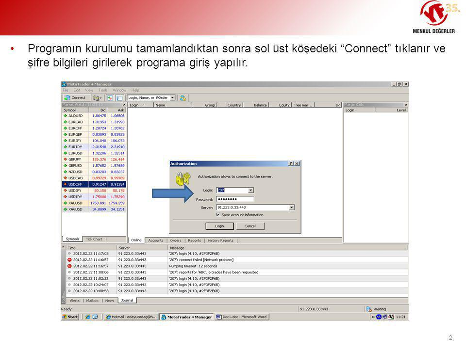 Programın kurulumu tamamlandıktan sonra sol üst köşedeki Connect tıklanır ve şifre bilgileri girilerek programa giriş yapılır.
