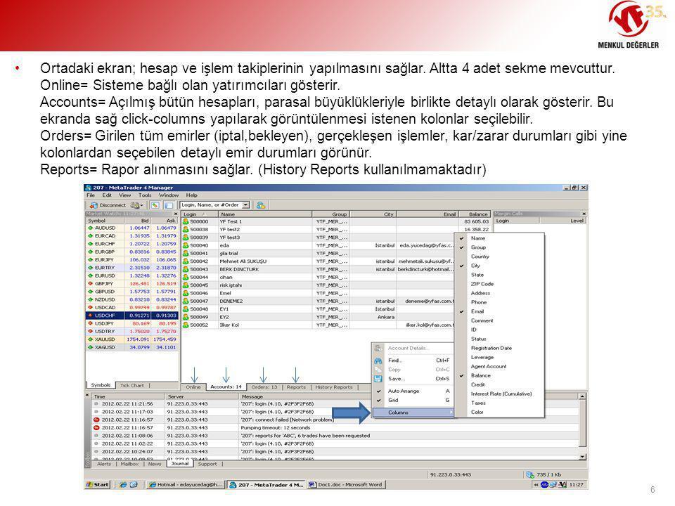 Ortadaki ekran; hesap ve işlem takiplerinin yapılmasını sağlar