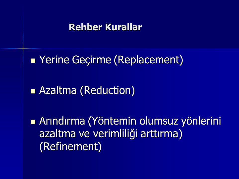 Yerine Geçirme (Replacement) Azaltma (Reduction)