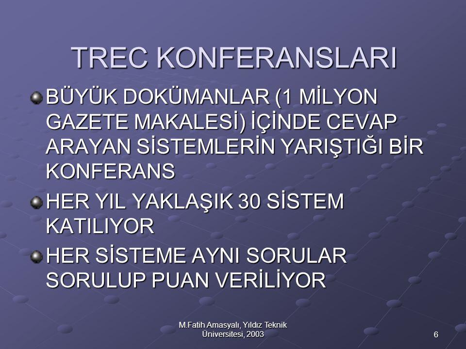 M.Fatih Amasyalı, Yıldız Teknik Üniversitesi, 2003