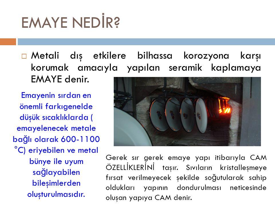 EMAYE NEDİR Metali dış etkilere bilhassa korozyona karşı korumak amacıyla yapılan seramik kaplamaya EMAYE denir.