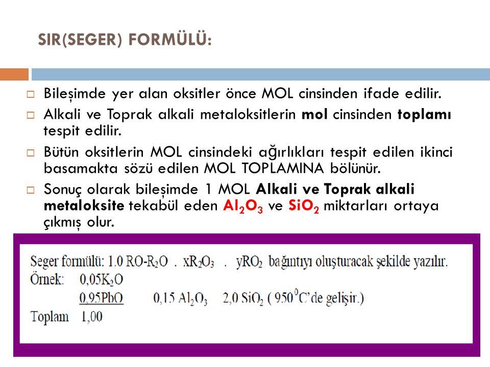 SIR(SEGER) FORMÜLÜ: Bileşimde yer alan oksitler önce MOL cinsinden ifade edilir.