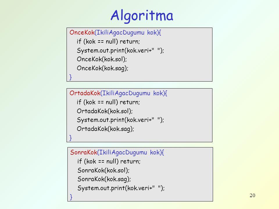 Algoritma OnceKok(IkiliAgacDugumu kok){ if (kok == null) return;
