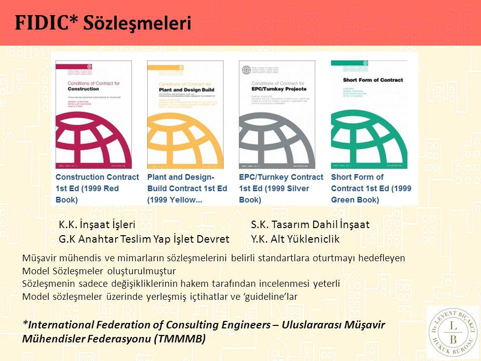 FIDIC* Sözleşmeleri K.K. İnşaat İşleri S.K. Tasarım Dahil İnşaat