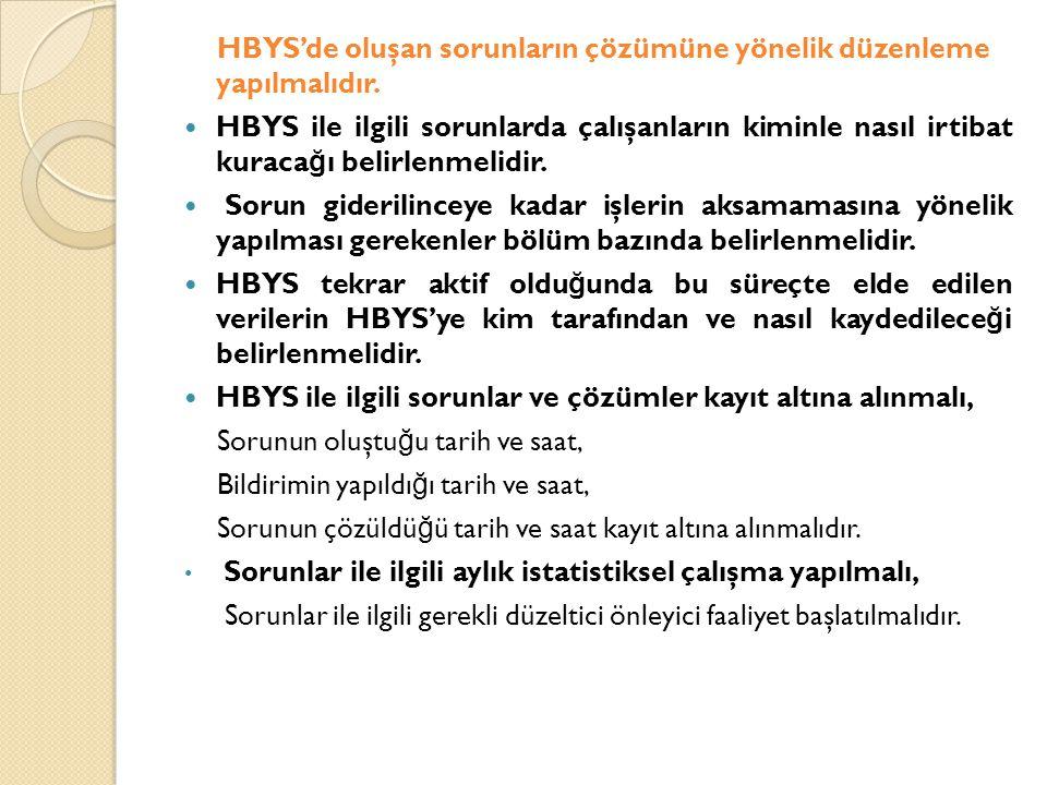 HBYS'de oluşan sorunların çözümüne yönelik düzenleme yapılmalıdır.