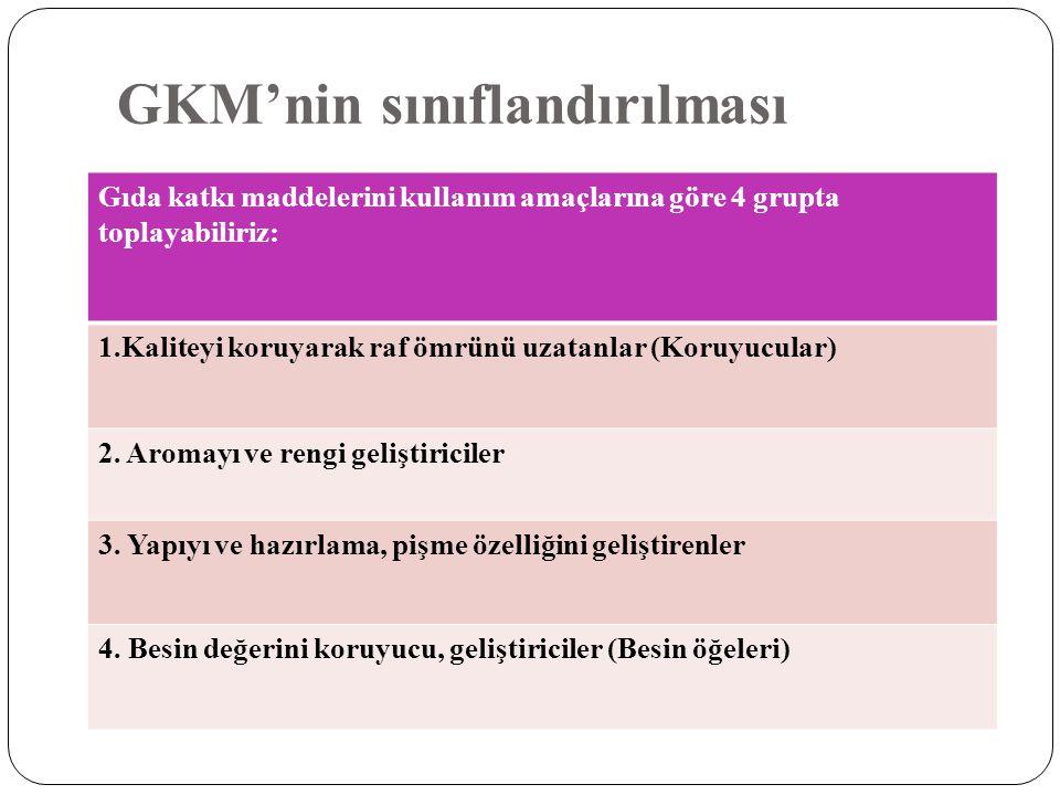 GKM'nin sınıflandırılması