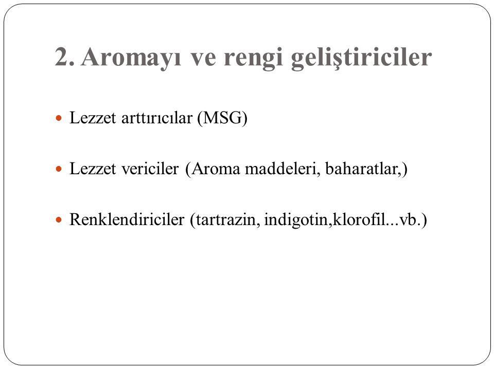 2. Aromayı ve rengi geliştiriciler
