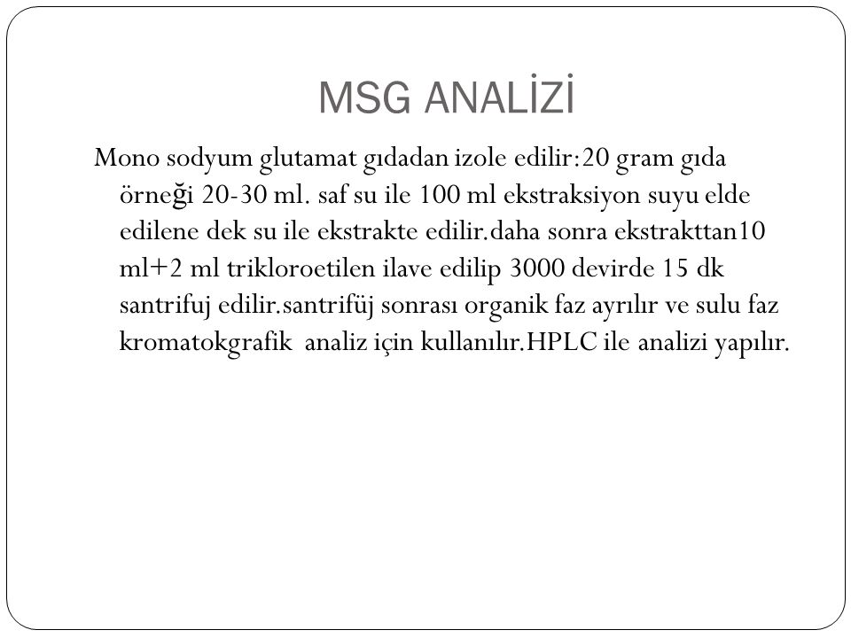 MSG ANALİZİ