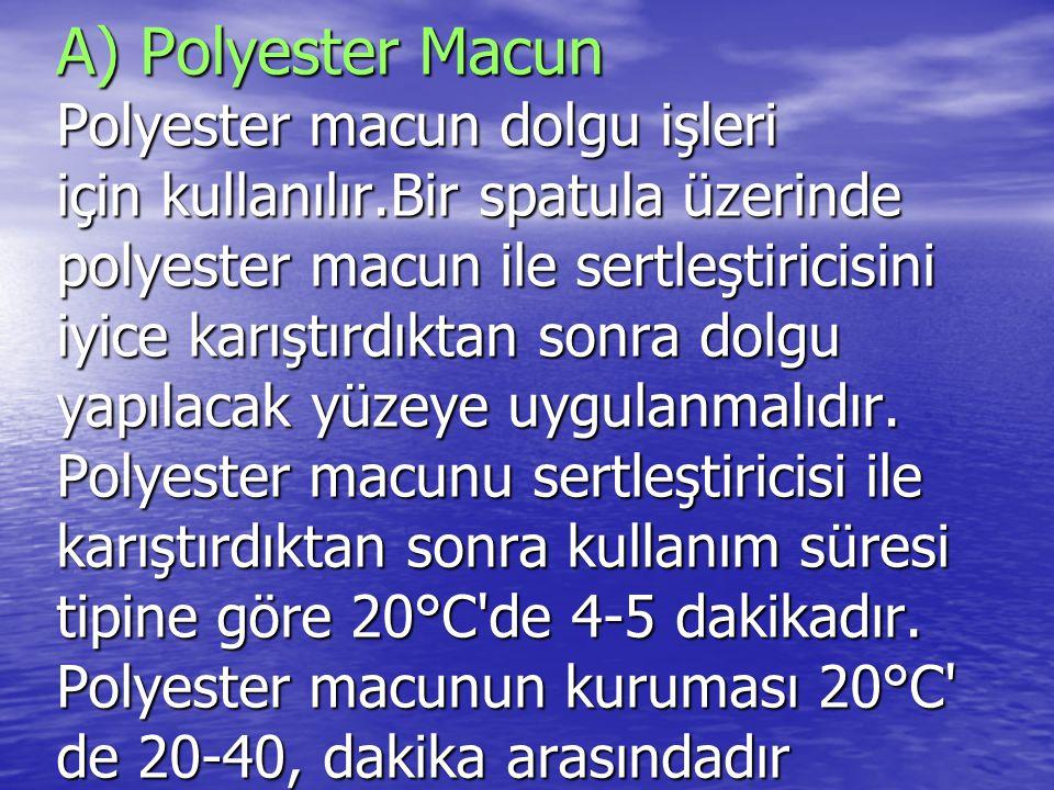 A) Polyester Macun Polyester macun dolgu işleri için kullanılır