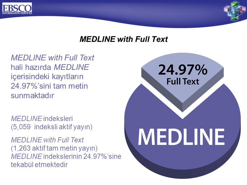 MEDLINE with Full Text MEDLINE with Full Text hali hazırda MEDLINE içerisindeki kayıtların 24.97%'sini tam metin sunmaktadır.