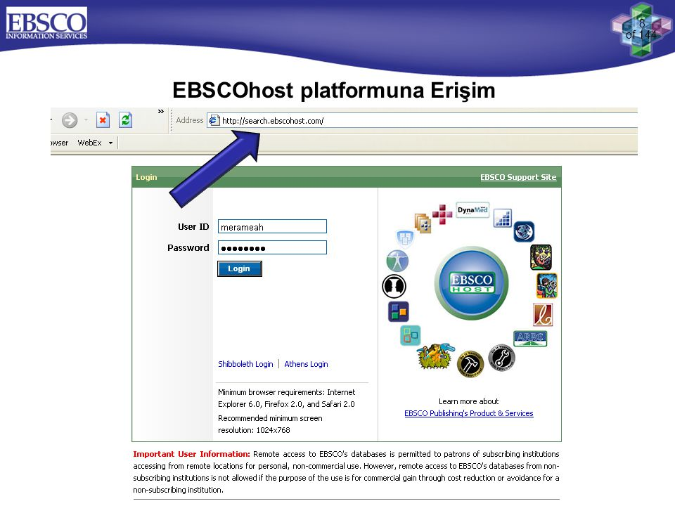 EBSCOhost platformuna Erişim