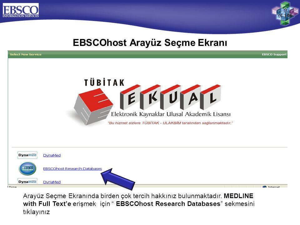 EBSCOhost Arayüz Seçme Ekranı