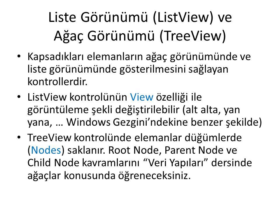 Liste Görünümü (ListView) ve Ağaç Görünümü (TreeView)