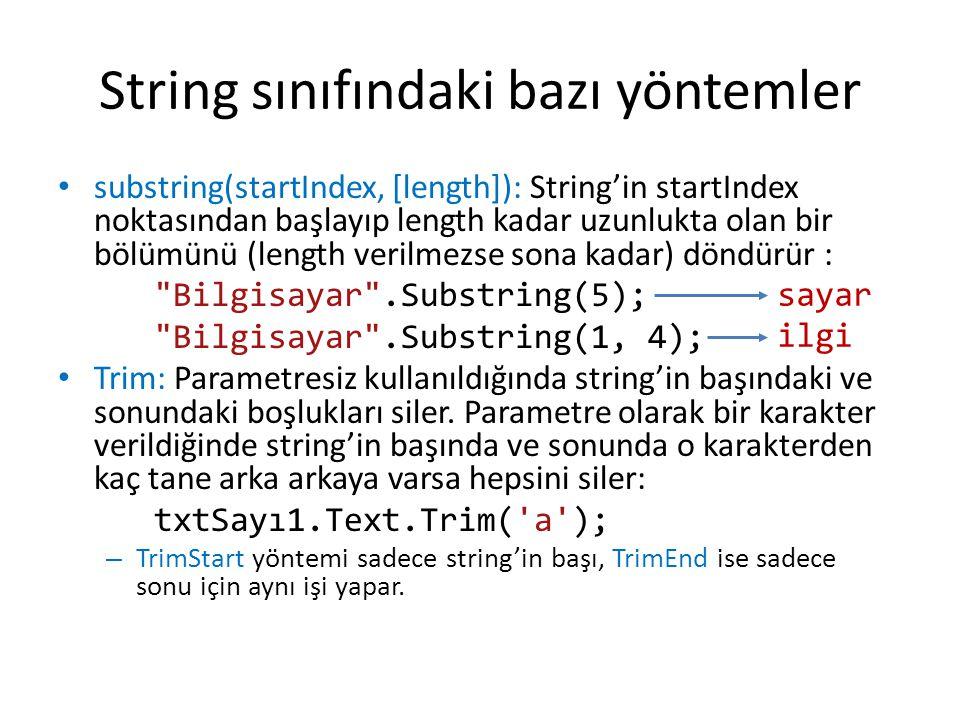 String sınıfındaki bazı yöntemler