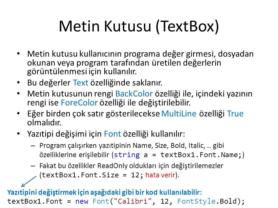 Metin Kutusu (TextBox)