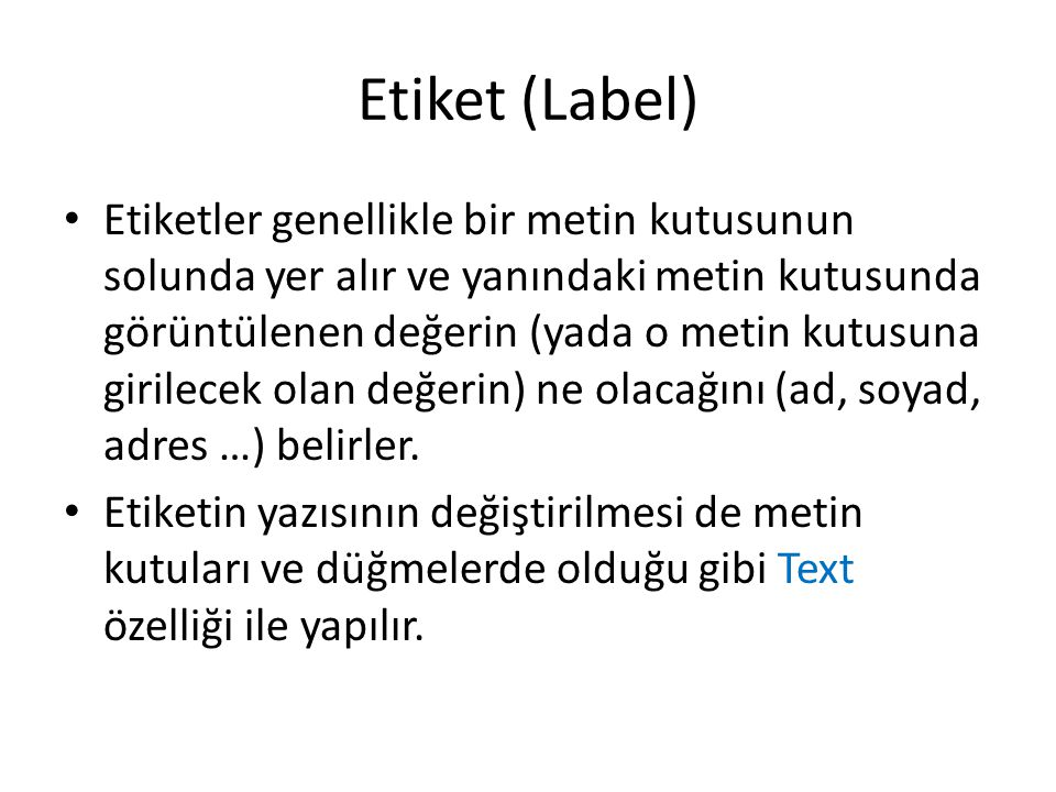 Etiket (Label)