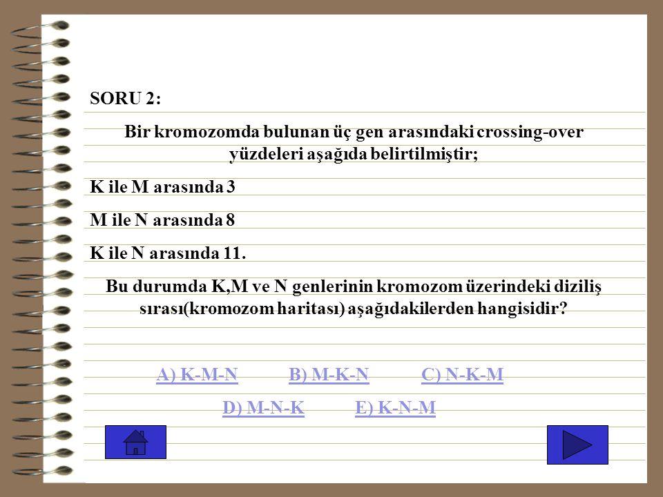 SORU 2: Bir kromozomda bulunan üç gen arasındaki crossing-over yüzdeleri aşağıda belirtilmiştir; K ile M arasında 3.