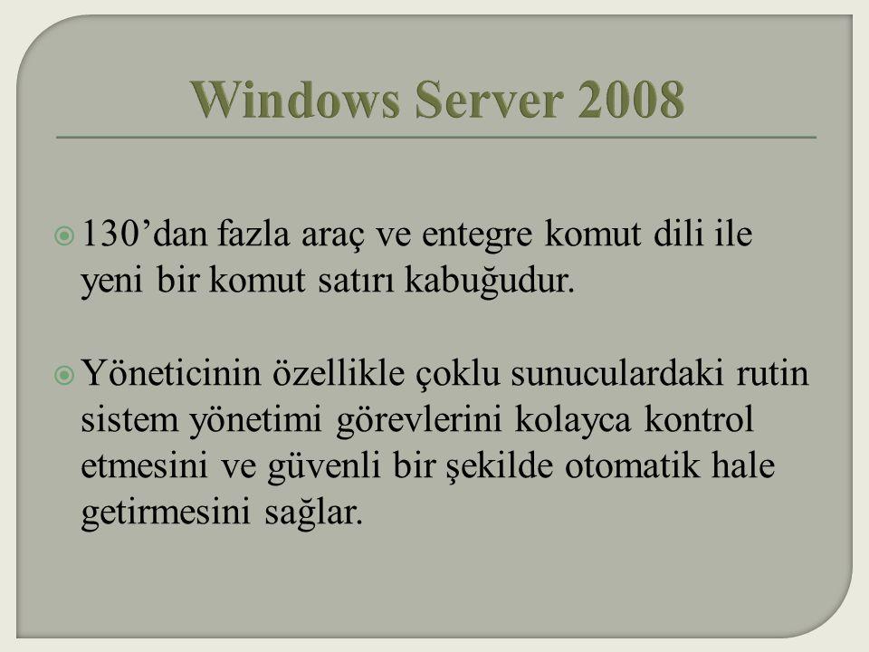Windows Server 2008 130'dan fazla araç ve entegre komut dili ile yeni bir komut satırı kabuğudur.