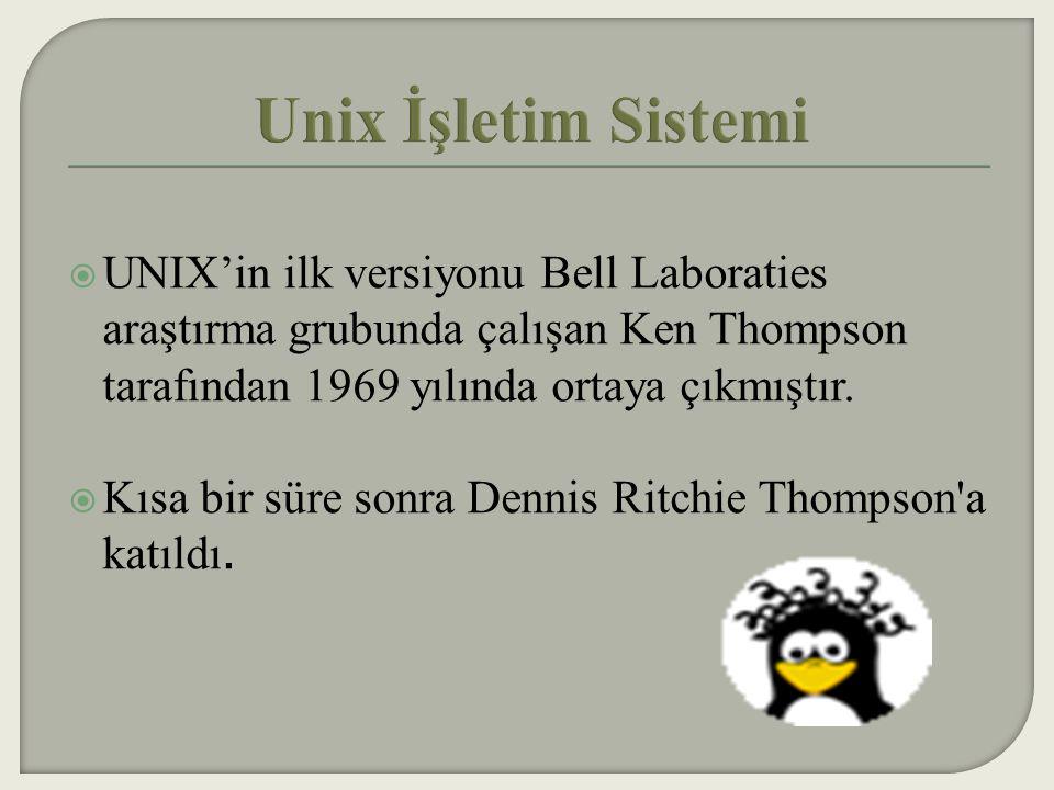 Unix İşletim Sistemi UNIX'in ilk versiyonu Bell Laboraties araştırma grubunda çalışan Ken Thompson tarafından 1969 yılında ortaya çıkmıştır.