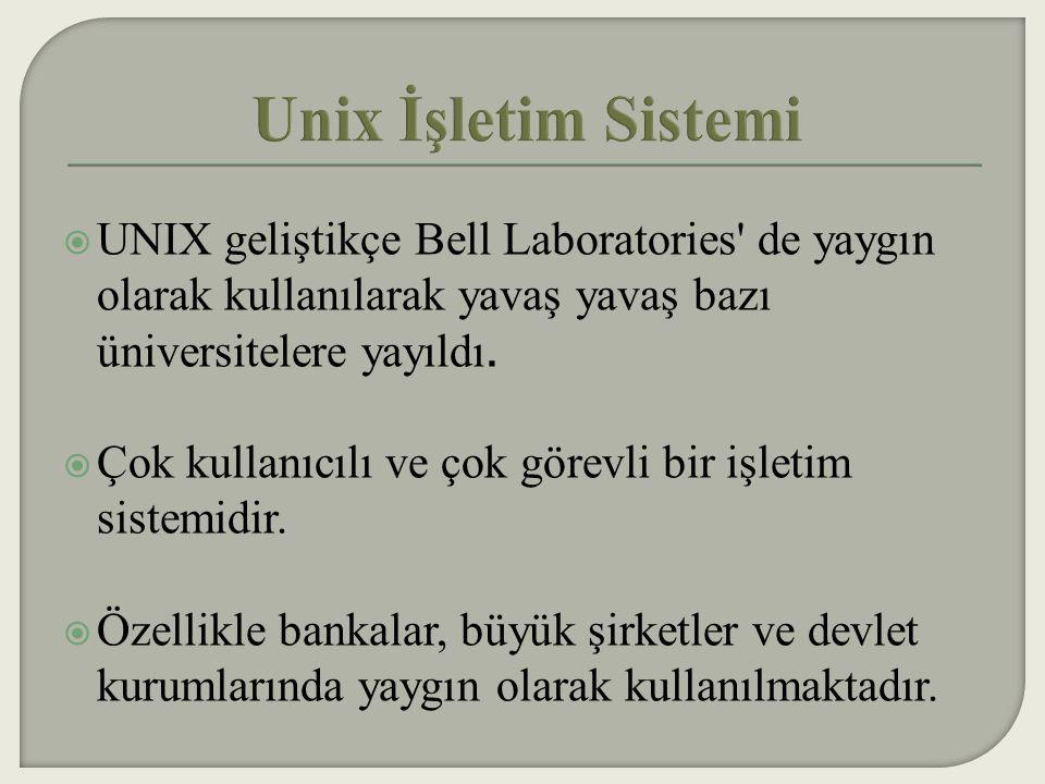 Unix İşletim Sistemi UNIX geliştikçe Bell Laboratories de yaygın olarak kullanılarak yavaş yavaş bazı üniversitelere yayıldı.