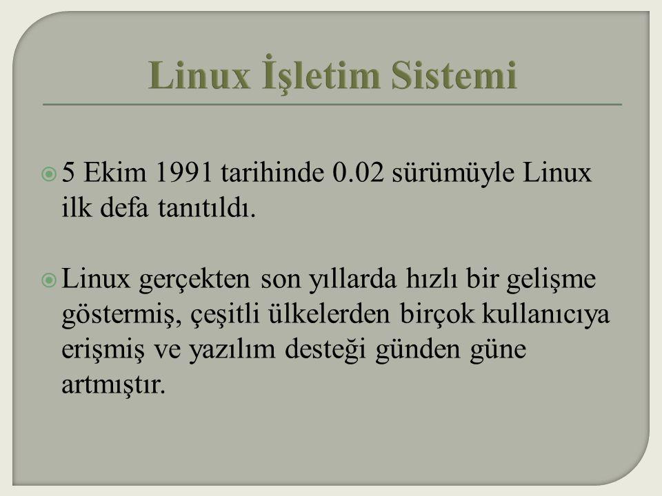 5 Ekim 1991 tarihinde 0.02 sürümüyle Linux ilk defa tanıtıldı.