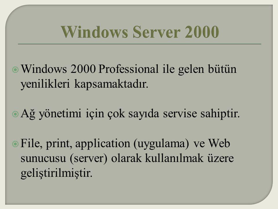 Windows Server 2000 Windows 2000 Professional ile gelen bütün yenilikleri kapsamaktadır. Ağ yönetimi için çok sayıda servise sahiptir.