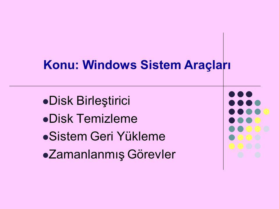 Konu: Windows Sistem Araçları