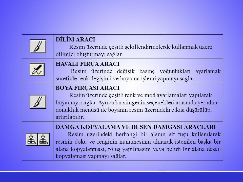 DİLİM ARACI Resim üzerinde çeşitli şekillendirmelerde kullanmak üzere dilimler oluşturmayı sağlar. HAVALI FIRÇA ARACI.