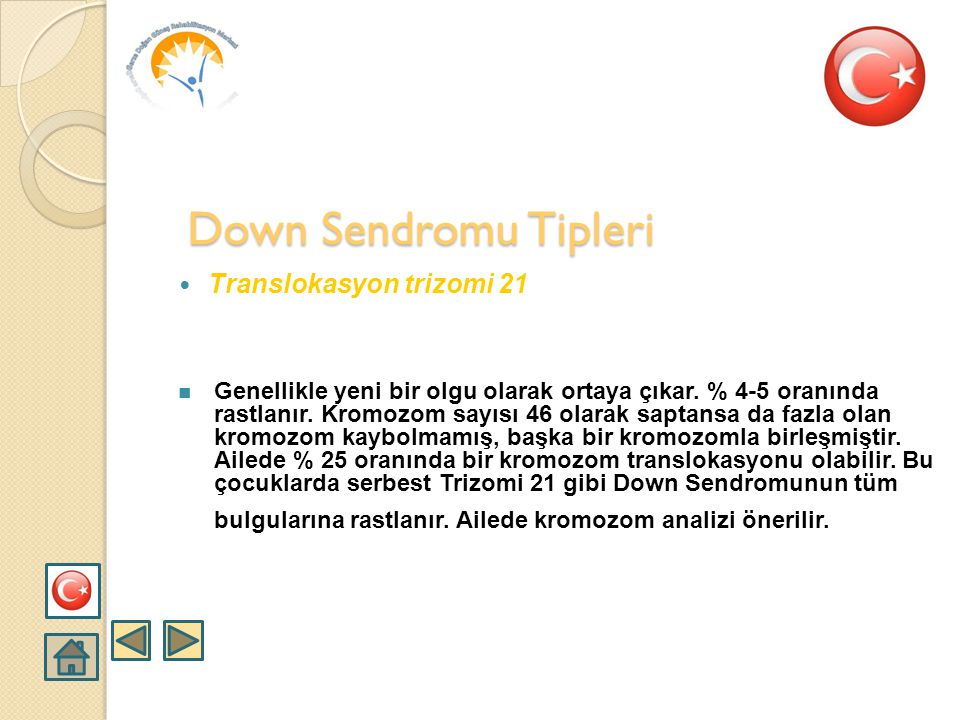 Down Sendromu Tipleri Translokasyon trizomi 21