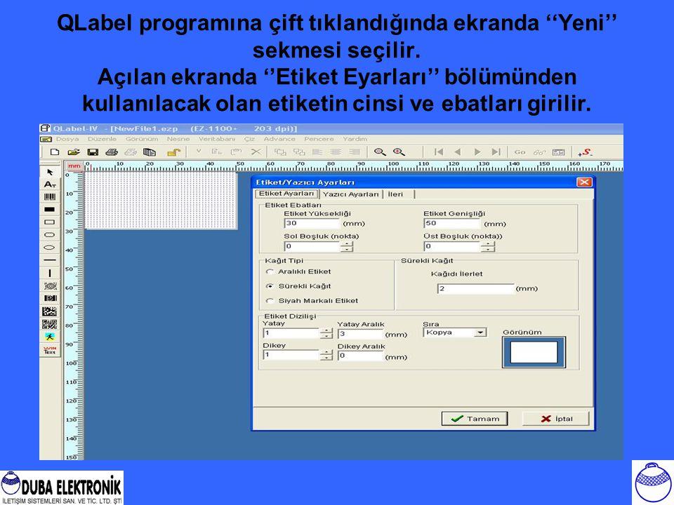 QLabel programına çift tıklandığında ekranda ''Yeni'' sekmesi seçilir