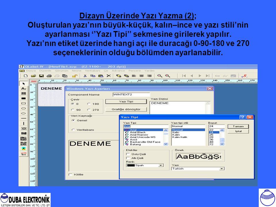 Dizayn Üzerinde Yazı Yazma (2); Oluşturulan yazı'nın büyük-küçük, kalın–ince ve yazı stili'nin ayarlanması ''Yazı Tipi'' sekmesine girilerek yapılır.