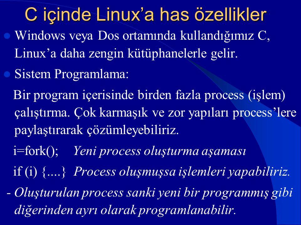 C içinde Linux'a has özellikler