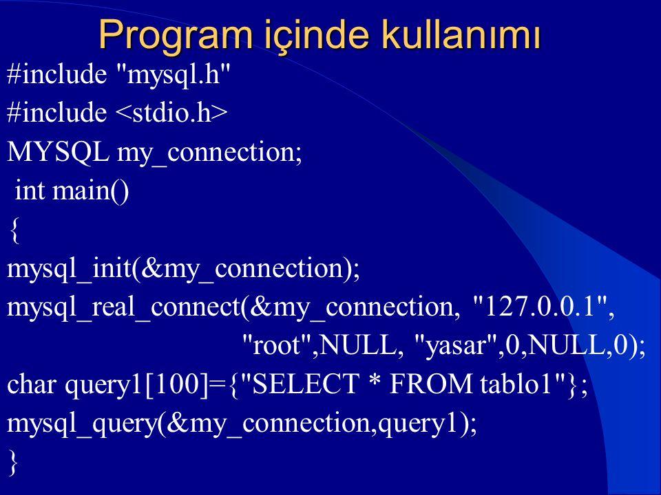 Program içinde kullanımı