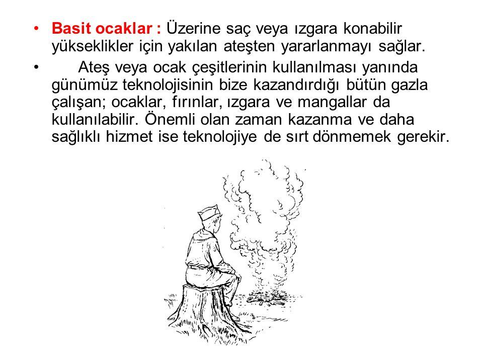 Basit ocaklar : Üzerine saç veya ızgara konabilir yükseklikler için yakılan ateşten yararlanmayı sağlar.
