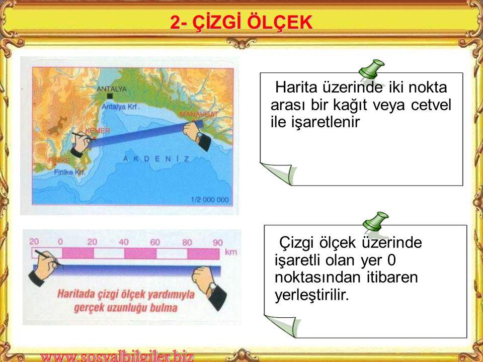2- ÇİZGİ ÖLÇEK Harita üzerinde iki nokta arası bir kağıt veya cetvel ile işaretlenir.
