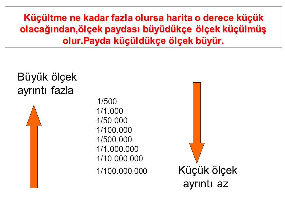 Büyük ölçek ayrıntı fazla ayrıntı az 1/1.000 1/50.000 1/100.000
