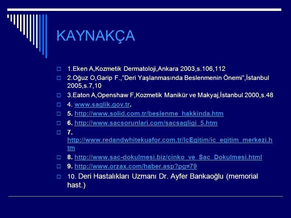 KAYNAKÇA 1.Eken A,Kozmetik Dermatoloji,Ankara 2003,s.106,112