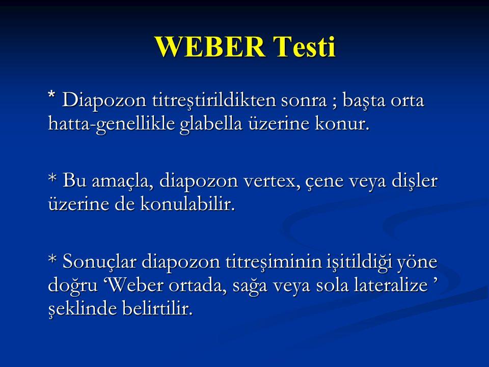 WEBER Testi * Diapozon titreştirildikten sonra ; başta orta hatta-genellikle glabella üzerine konur.