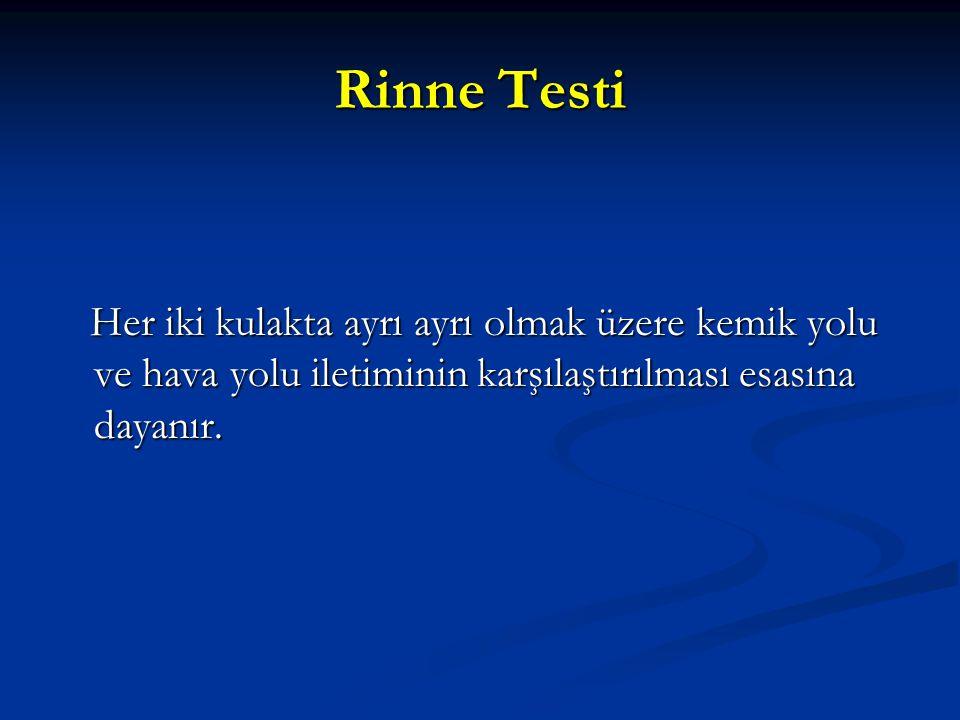 Rinne Testi Her iki kulakta ayrı ayrı olmak üzere kemik yolu ve hava yolu iletiminin karşılaştırılması esasına dayanır.