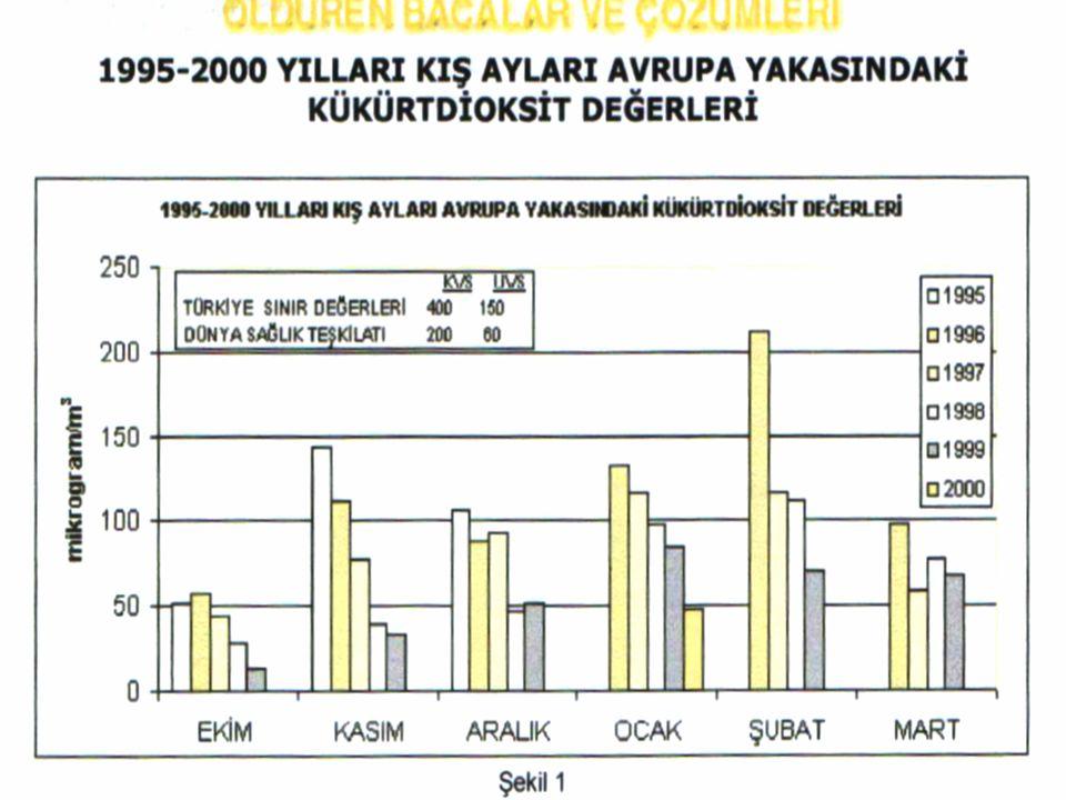 Grafik 1. 1995-2000 yılları kış ayları İstanbul Avrupa yakasındaki kükürt dioksit değerleri(6)