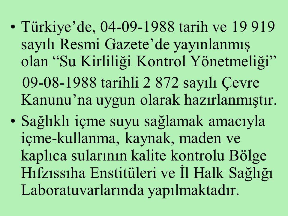 Türkiye'de, 04-09-1988 tarih ve 19 919 sayılı Resmi Gazete'de yayınlanmış olan Su Kirliliği Kontrol Yönetmeliği