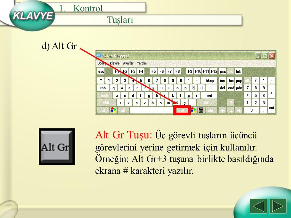 Kontrol Tuşları. d) Alt Gr.