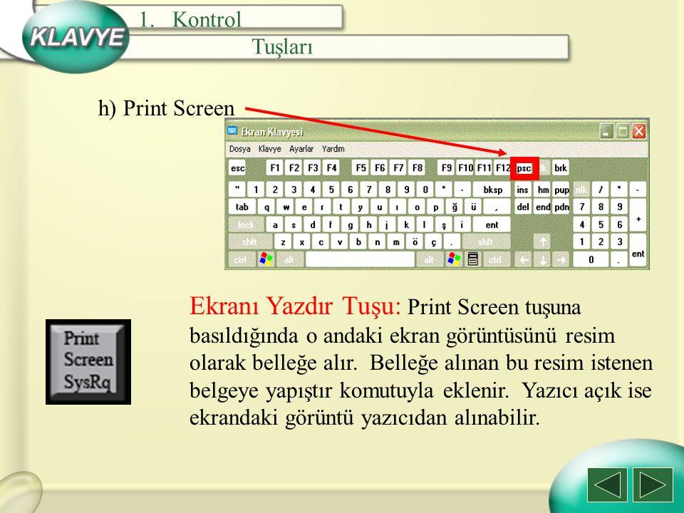 Kontrol Tuşları. h) Print Screen.