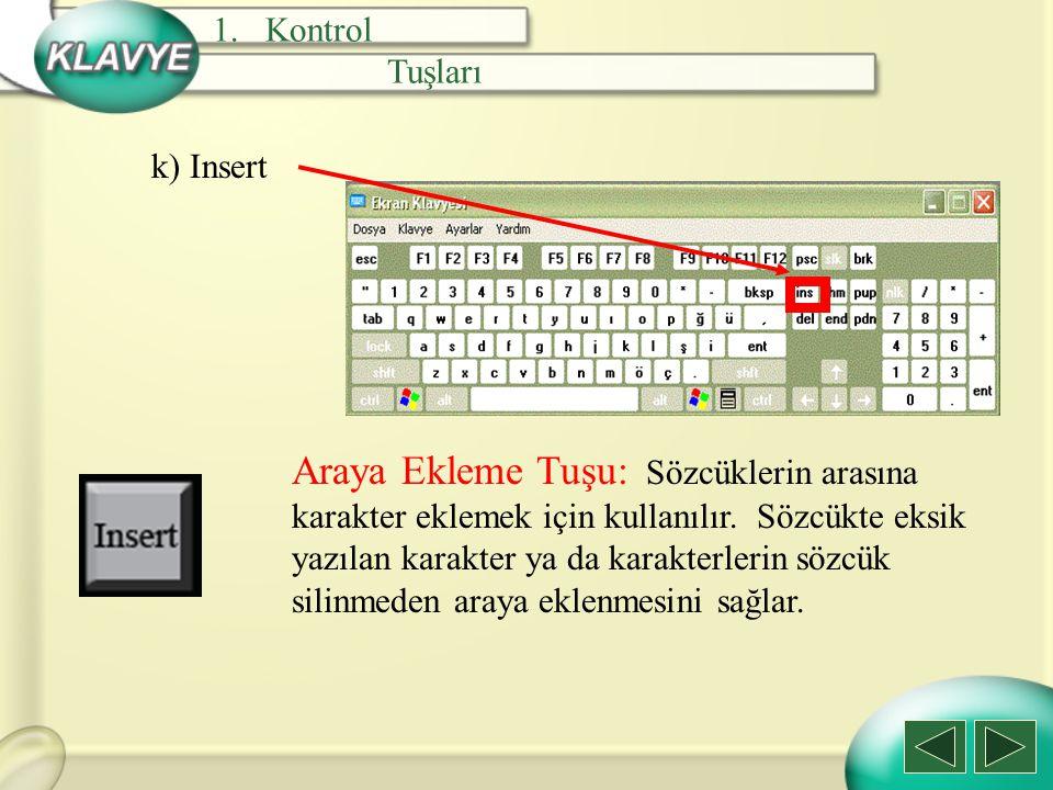 Kontrol Tuşları. k) Insert.
