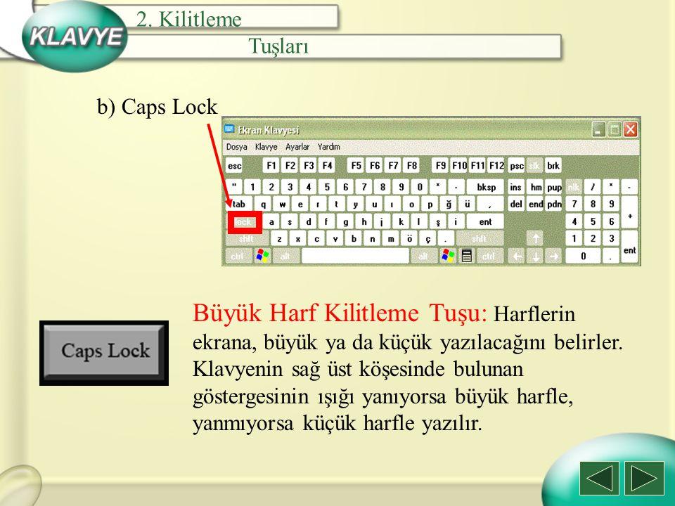 2. Kilitleme Tuşları. b) Caps Lock.