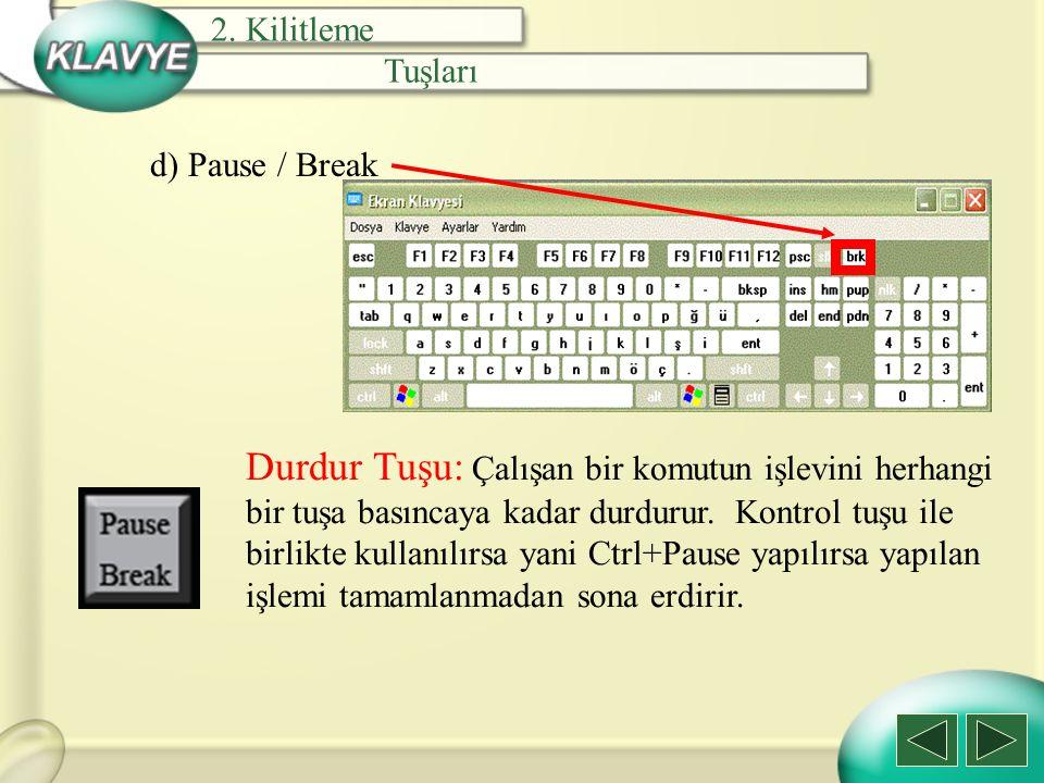 2. Kilitleme Tuşları. d) Pause / Break.