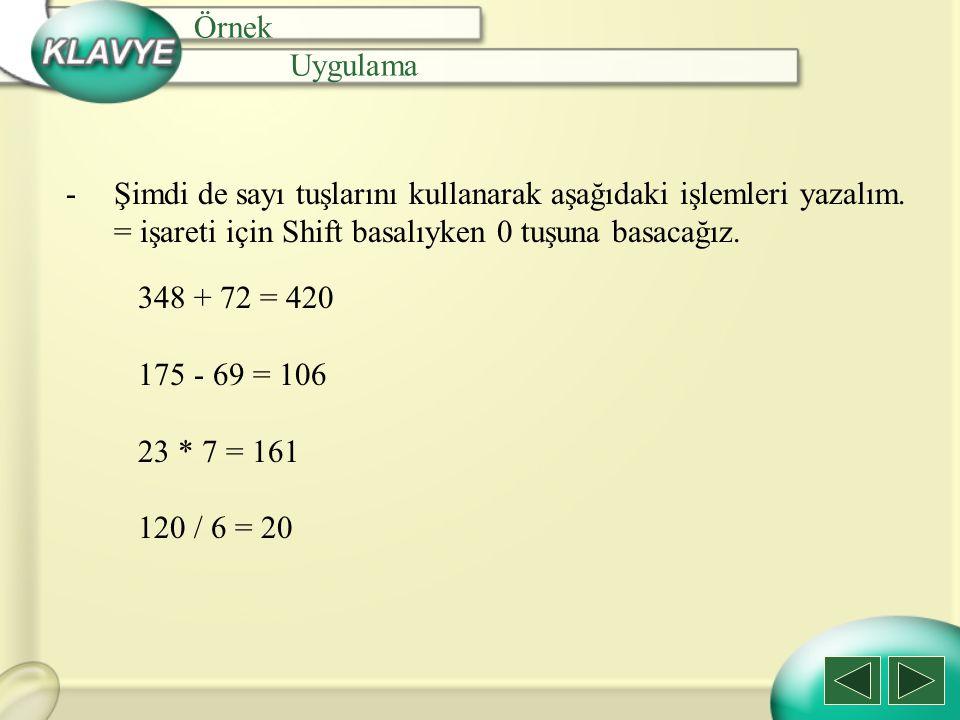 Örnek Uygulama. Şimdi de sayı tuşlarını kullanarak aşağıdaki işlemleri yazalım. = işareti için Shift basalıyken 0 tuşuna basacağız.