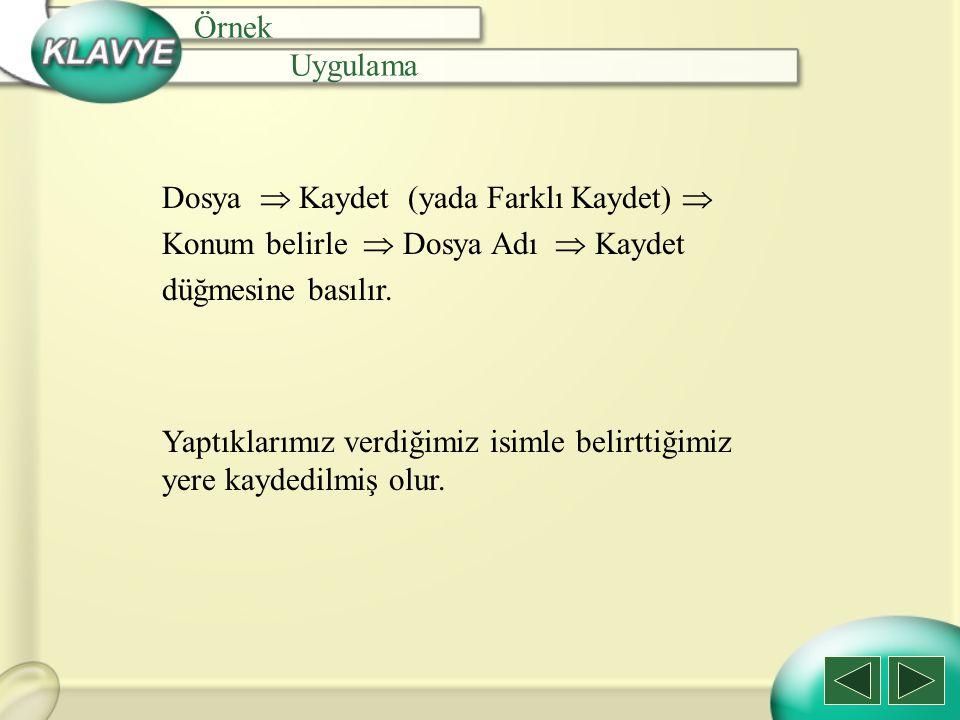 Örnek Uygulama. Dosya  Kaydet (yada Farklı Kaydet)  Konum belirle  Dosya Adı  Kaydet. düğmesine basılır.