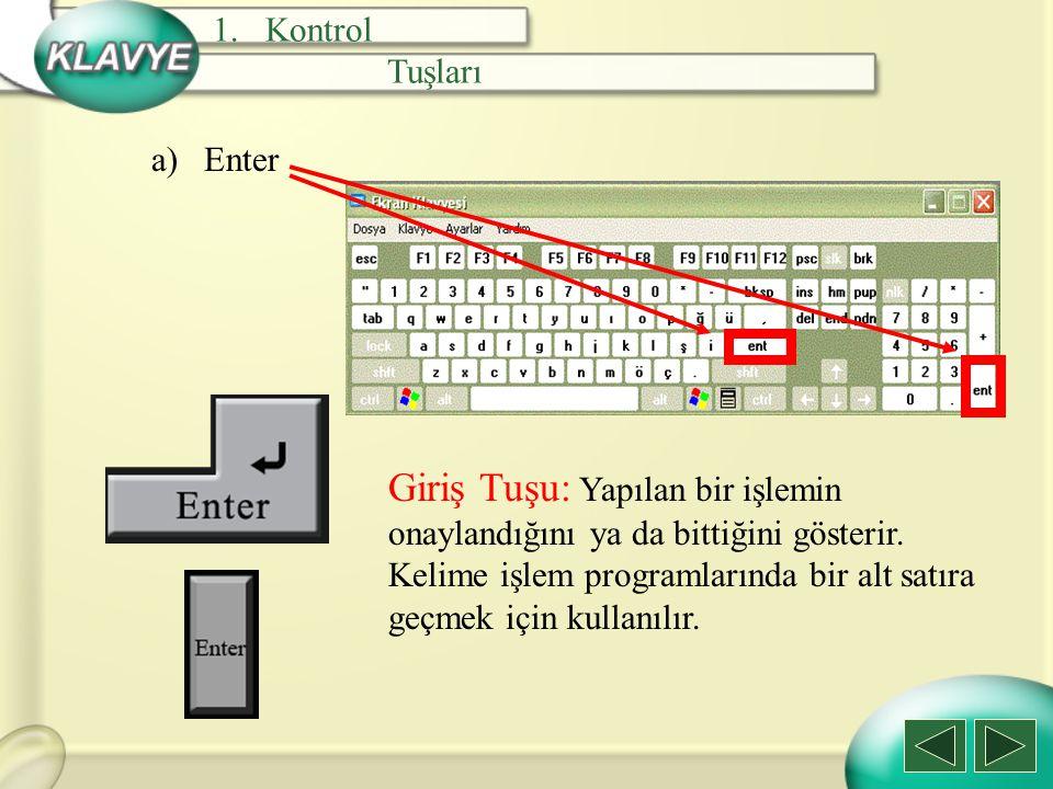 Kontrol Tuşları. Enter. Giriş Tuşu: Yapılan bir işlemin onaylandığını ya da bittiğini gösterir. Kelime işlem programlarında bir alt satıra.